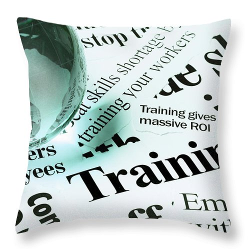 Employment And Labor Throw Pillow featuring the photograph Glass Globe Paperweight On Headlines by Rapideye