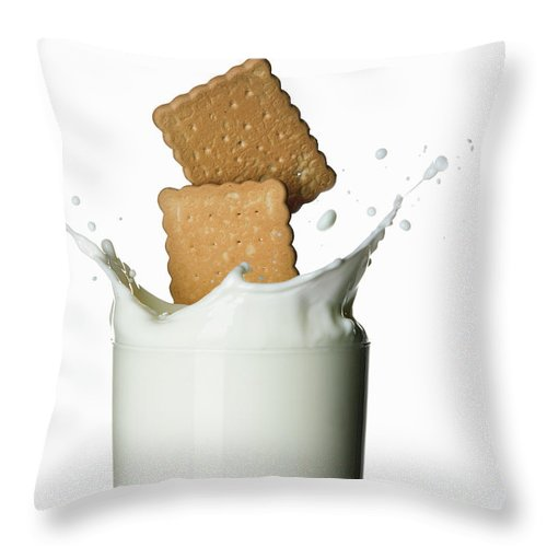 Milk Throw Pillow featuring the photograph Glass Of Milk by Buena Vista Images