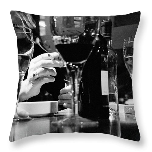 Smoking Throw Pillow featuring the photograph Glasses Of Wine by Matt Carr