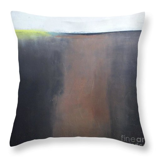 Abstract Landscape Throw Pillow featuring the painting Glow In The Prairie by Vesna Antic