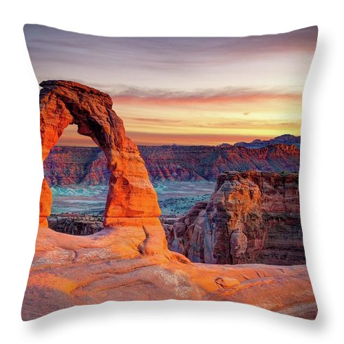Scenics Throw Pillow featuring the photograph Glowing Arch by Mark Brodkin Photography