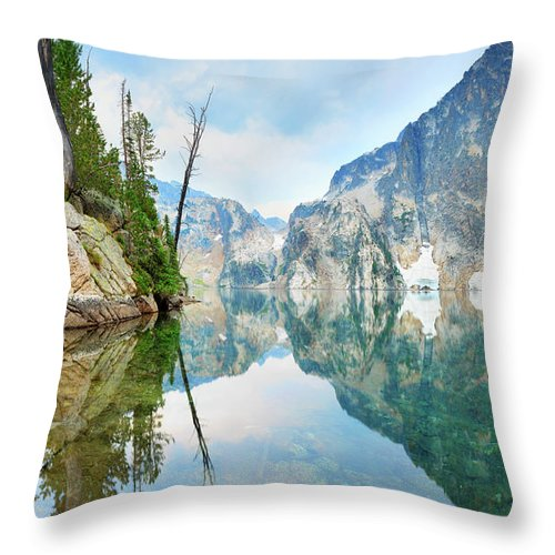 Tranquility Throw Pillow featuring the photograph Goat Lake On Cloudy Day In Sawtooth by Anna Gorin