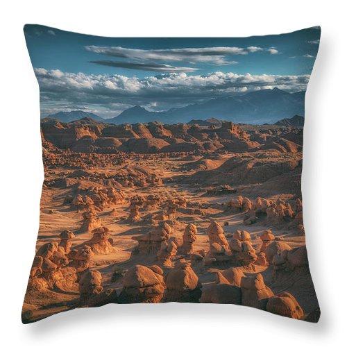 Goblin Valley Throw Pillow featuring the photograph Goblins by Marybeth Kiczenski