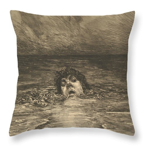 19th Century Art Throw Pillow featuring the relief Going Under by Max Klinger