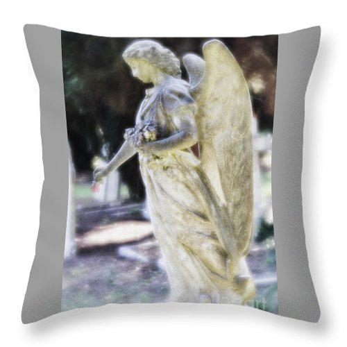 Angel Throw Pillow featuring the photograph Golden Angel With Pink Rose by Elaine MacKenzie