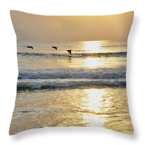 Ocean Sunrise Throw Pillow featuring the photograph Golden Daybreak by Laurie Hein