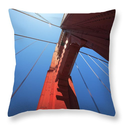 San Francisco Throw Pillow featuring the photograph Golden Gate Bridge Tower by Mortonphotographic