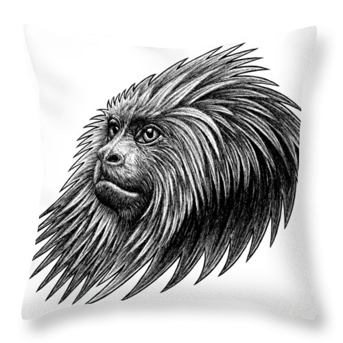 Money Throw Pillow featuring the drawing Golden Headed Lion Tamarin - Ink Illustration by Loren Dowding