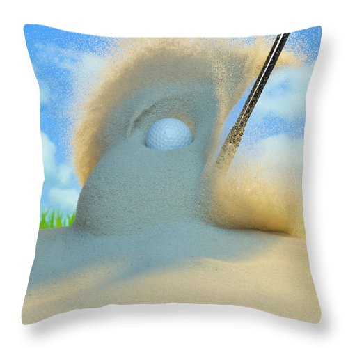 Drive Throw Pillow featuring the photograph Golf Ball Being Driven Out Of A Sand by Don Farrall