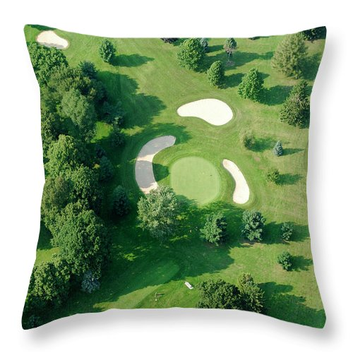 Sand Trap Throw Pillow featuring the photograph Golf Course Close Up From The Air by Groveb