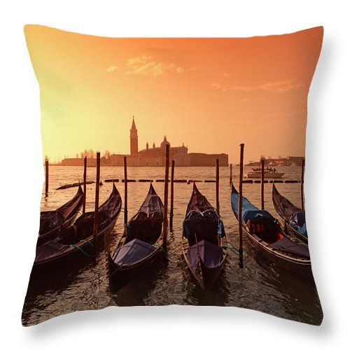 Scenics Throw Pillow featuring the photograph Gondolas And Saint George Major In by Massimo Pizzotti