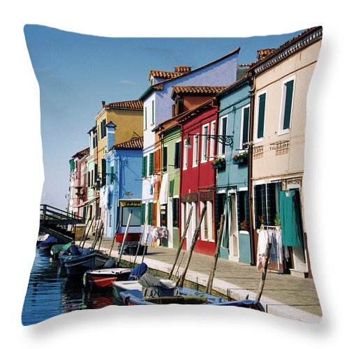 Row House Throw Pillow featuring the photograph Gondolas In A Canal, Burano, Venice by Medioimages/photodisc