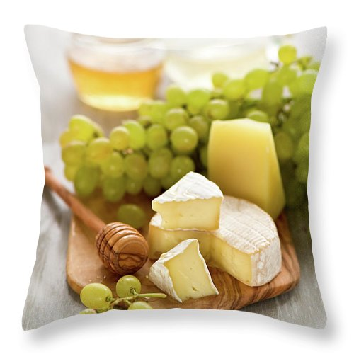 Cheese Throw Pillow featuring the photograph Grape, Honey And Cheese by Verdina Anna