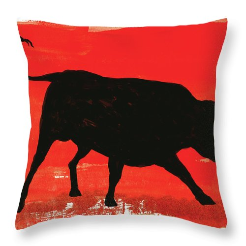 Bull Market Throw Pillow featuring the digital art Graphic Bull Illustration by Don Bishop