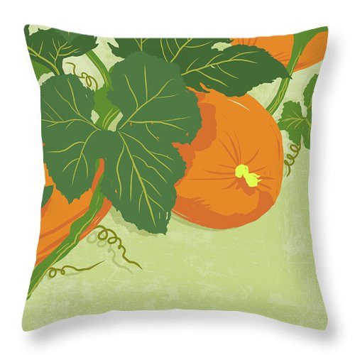 Part Of A Series Throw Pillow featuring the digital art Graphic Illustration Of Pumpkins by Don Bishop