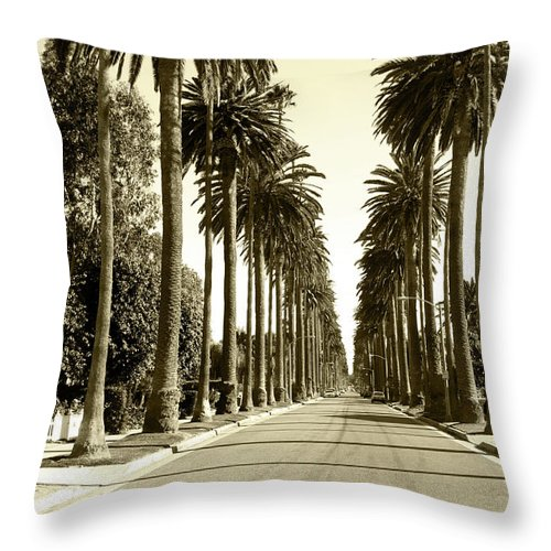 1950-1959 Throw Pillow featuring the photograph Grayscale Image Of Beverly Hills by Marcomarchi