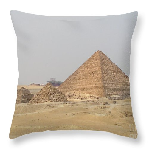 Travel Throw Pillow featuring the photograph Great Pyramids Of Egypt, Giza J3 by Dr Guy Sion