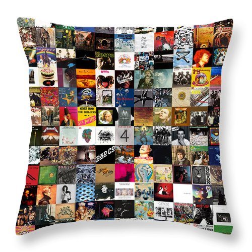 Album Covers Throw Pillow featuring the digital art Greatest Rock Albums of All Time by Zapista OU