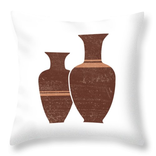 Abstract Throw Pillow featuring the mixed media Greek Pottery 23 - Hydria - Terracotta Series - Modern, Contemporary, Minimal Abstract - Burnt Umber by Studio Grafiikka