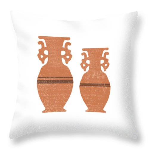 Abstract Throw Pillow featuring the mixed media Greek Pottery 37 - Amphorae - Terracotta Series - Modern, Contemporary, Minimal Abstract - Sienna by Studio Grafiikka