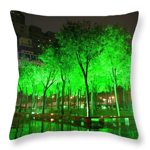 Outdoors Throw Pillow featuring the photograph Green Illuminated Trees, China by Shanna Baker