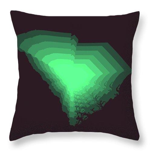 South Carolina Throw Pillow featuring the digital art Green Map Of South Carolina by Naxart Studio