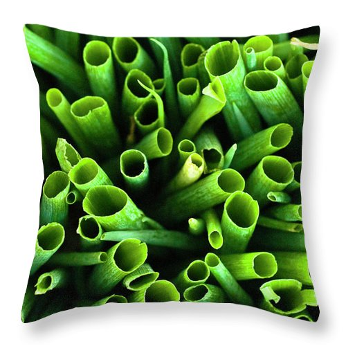 Large Group Of Objects Throw Pillow featuring the photograph Green Onions by By Ken Ilio