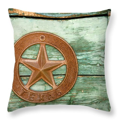 Information Medium Throw Pillow featuring the photograph Green Paint Peeling On Wooden Box With by Fstop123