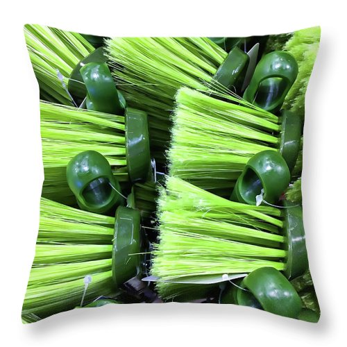 Abstract Throw Pillow featuring the photograph Green Plastic Brushes by Tom Gowanlock