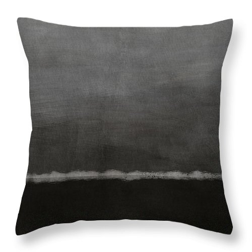 Abstract Throw Pillow featuring the painting Grey Skies- Abstract Art by Linda Woods by Linda Woods