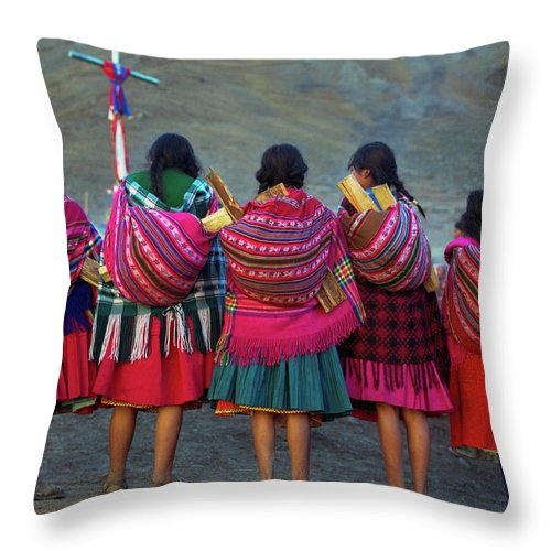People Throw Pillow featuring the photograph Group Of Peruvian Woman In Colorful by Linka A Odom