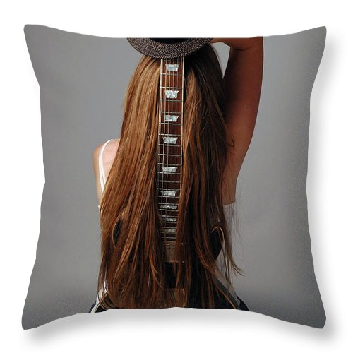 Human Arm Throw Pillow featuring the photograph Guitar Shaped Body by Image Taken By Mayte Torres