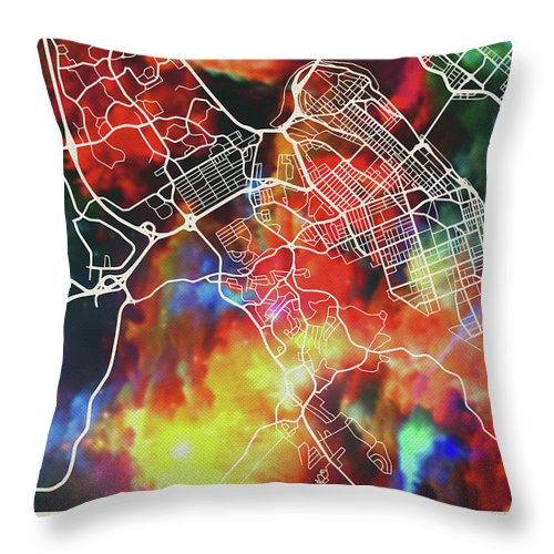 Halifax Throw Pillow featuring the mixed media Halifax Nova Scotia Canada Watercolor City Street Map by Design Turnpike