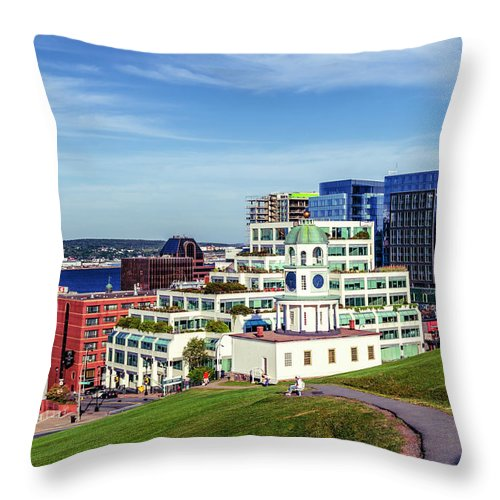 Architecture Throw Pillow featuring the photograph Halifax Town Clock And Halifax Skyline by Ken Morris