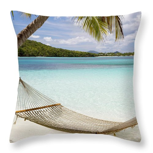 Water's Edge Throw Pillow featuring the photograph Hammock Hung On Palm Trees On A by Cdwheatley