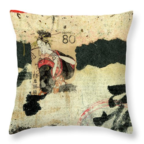 Collage Throw Pillow featuring the mixed media Hanazuma Mixed Media Collage by Carol Leigh