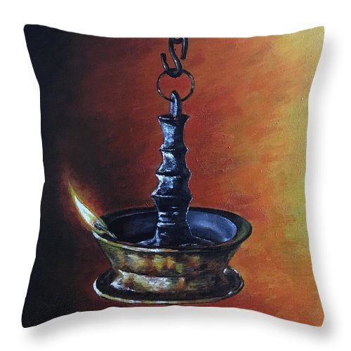 Acrylic Painting Throw Pillow featuring the painting Hanging Lamp by Varun Rao