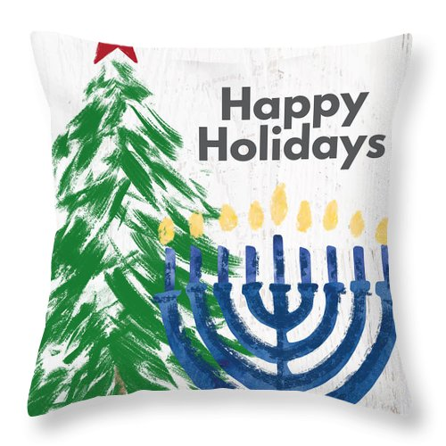Happy Holidays Tree And Menorah- Art By Linda Woods Throw Pillow