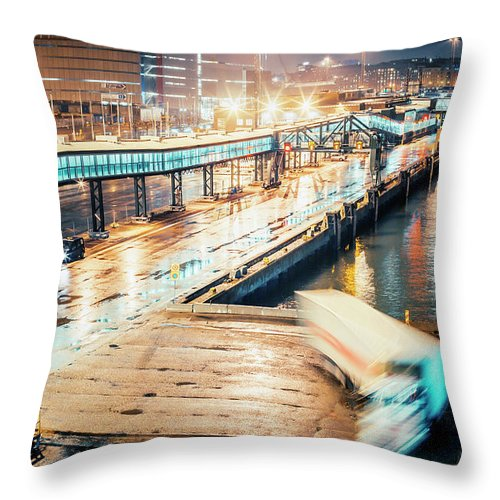 Industrial District Throw Pillow featuring the photograph Harbor Area by Peeterv