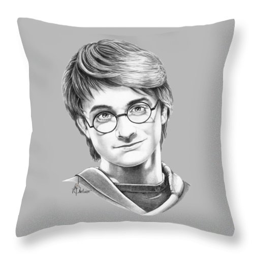 Drawing Throw Pillow featuring the drawing Harry Potter by Murphy Elliott