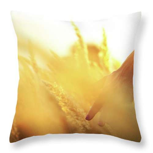 Farm Worker Throw Pillow featuring the photograph Harvest In The Morning by Aleksandarnakic