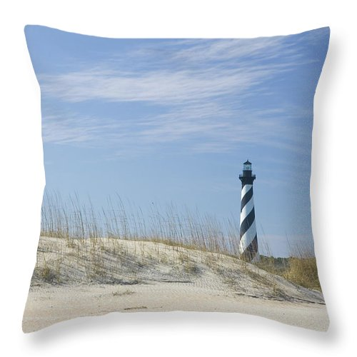 North Carolina Throw Pillow featuring the photograph Hatteras Lighthouse And The Dunes by Myhrcat