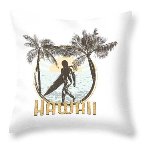 Beach Throw Pillow featuring the digital art Hawaii Surfer On Beach by Passion Loft