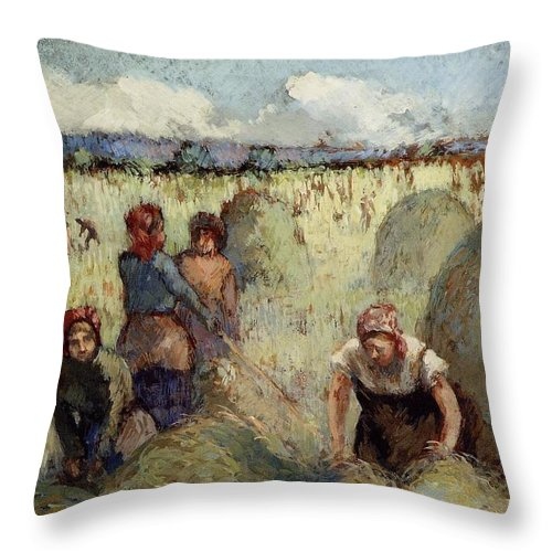 Camille Pissarro Throw Pillow featuring the painting Haymaking, 1895 by Camille Pissarro