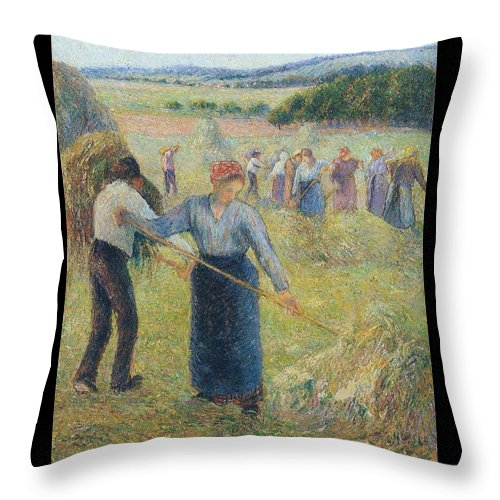 Camille Pissarro Throw Pillow featuring the painting Haymaking At Eragny, 1891 by Camille Pissarro
