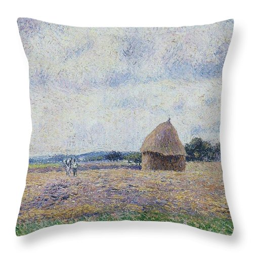 Camille Pissarro Throw Pillow featuring the painting Haystack- Eragny, 1895 by Camille Pissarro