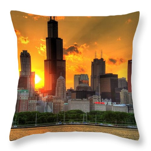 Tranquility Throw Pillow featuring the photograph Hdr Chicago Skyline Sunset by Jeffrey Barry