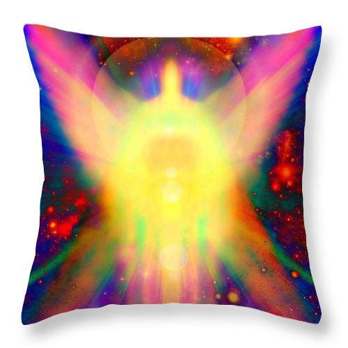 Reiki Throw Pillow featuring the painting Healing With Light by Alma Yamazaki