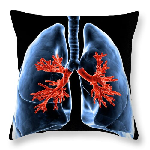 Human Lung Throw Pillow featuring the digital art Healthy Lungs, Artwork by Science Photo Library - Andrzej Wojcicki