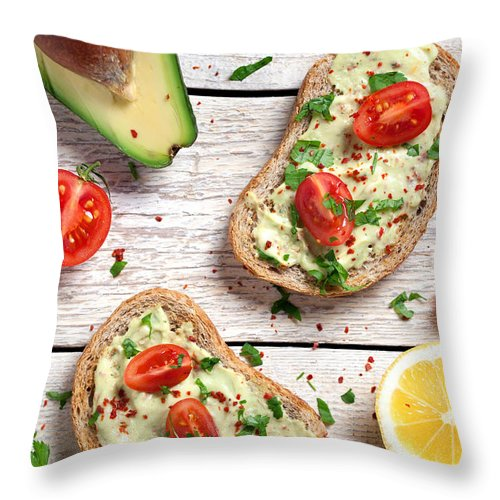 Breakfast Throw Pillow featuring the photograph Healthy Whole Grain Bread With Avocado by Barcin